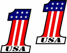 "USA #1 Decal SET 3""x1.9"" American Flag Number One 1 United States Sticker Harley"