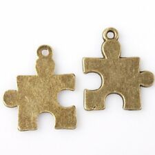 30x Hotsale Vintage Bronze Tone Smooth Puzzle Charms Jewelry Alloy Pendants J