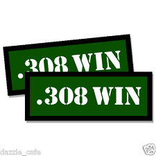 .308 WIN Ammo Can Stickers 2x Ammunition Gun Case Labels  GREEN Decals 2 pack