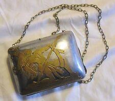 Vintage Aztec Alpaca Silver Brass Purse Shoulder Bag or Clutch