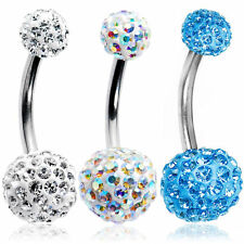 Belly button Ring ferido Crystal cz set of 3pc 14g Surgical Steel