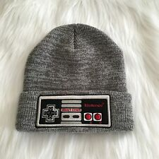 Men's Beanie Hat Nintendo Embroidery Gray Marled Print NEW