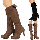 LADIES WOMENS OVER THE KNEE HIGH ZIP FOLD OVER WINTER BOOTS SHOES SIZE 3-8