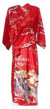 (810301)Red Ladies Long Silk Satin Feel Kimono Robe Dressing Gown 12-18 UK
