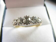 18ct Yellow Gold Art Deco 5 Diamonds 1.00 Carat Ring Size O Us 7.25 3.2g Lovely