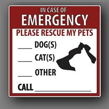 Pet Rescue Alert Decal/Sticker for Window or Door