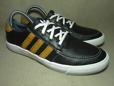VGC ADIDAS COURT DECK VULC LOW Men's Boys' Black Leather Trainers UK 6/ EU 39