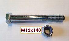 Schraube DIN 931 M12x140mm, 10.9 + Mutter M12 Kl.10 verzinkt  für Kugelkupplung