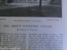 Coventry Cycles Bicycle Cycling Bike Rare Victorian Antique Photo Article 1895
