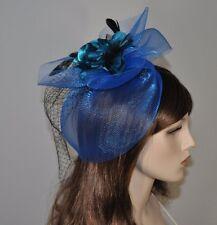 Fascinator Haarclip mit Netz Federn Satin Blume Hochzeit Haarschmuck ROYAL BLAU