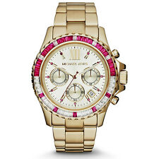 NEW MICHAEL KORS EVEREST LADIES GLITZ WATCH MK5871 - PINK CRYSTALS GOLD TONE