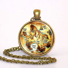 Peter Pan Necklace, Neverland map jewelry,Peter Pan Round Glass Pendant Charm