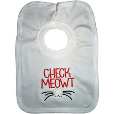 Check Meowt Me Out Pop over Bib Embroidered Funny Joke Garfield