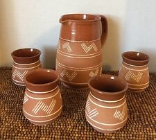 5 pc Lapithos Cyprus Handmade Terracotta Pottery Stoneware Geo PITCHER 4 CUPS