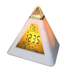 New 7 LED Pyramid Colour Changing Digital Clock with Date Alarm & Temperature