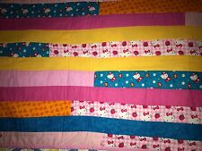 Handmade Baby Child's Hello Kitty Quilt Blanket Kawaii Multi Colored Crib