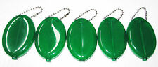 Green Rubber Squeeze Coin Purses 5 units Vintage Oval Coin Holder Made in USA