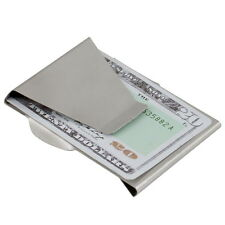 Slim Money Clip Double Sided Cash Credit Card Holder Wallet Stainless Steel HX