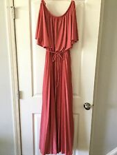 Vintage 70's Maxi Bridesmaid Prom Evening Dress Made n USA Burnt Orange Sz 11/12