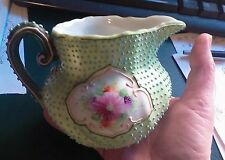 Nippon Hand Painted Moriage Creamer Pitcher Beading Floral Panels c 1895