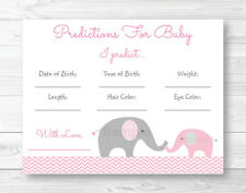 Pink Chevron Elephant Shower Baby Predictions Game Cards Printable