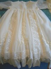 Vintage Wedding Christening Baptism Dressing Gown 0-3 Vtg
