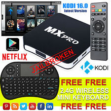 2016 MX Pro Quad Core Android 4.4 Smart TV box nuovo pieno carico KODI XBMC UK