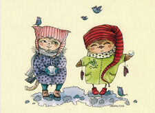 WINTER TIME:  Owls play snowballs Modern Russian card by Inga Paltser