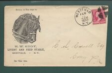 """WESTFIELD, NEW YORK COVER 1893. ADVT:  """"H.W. EDDY"""", Livery & Feed Stable."""
