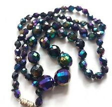 Vintage  Carnival Glass faceted Graduated Necklace