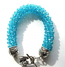 4mm Aqua Crystal Bracelet with Silver Overlay Clasp  Kumihimo