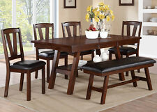 NEW 6PC LINCOLN DARK WALNUT FINISH WOOD DINING TABLE SET w/ CHAIRS & BENCH