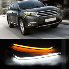 1set LED Headlight Eyebrows Trim Lamp Cover DRL For Toyota Highlander 2011-2013