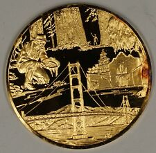 """Gold Plated Sterling Silver Proof Medal California """"I Have Found It"""" In Case"""