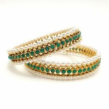 Asian Bridal Indian Traditional Jewellery Polki Pearls Bangles Size:2.6