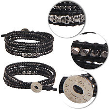 Kelitch Black Nuggets Beads & Silver Skull 3 Wrap Bracelet Leather Jewelry Chain