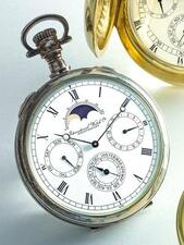 IWC   A FINE SILVEROPEN-FACED PERPETUAL CALENDAR WATCH WITH MOON PHASES