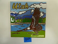 "Ceramic Art Tile 6""x6"" Utah Bald Eagle Mountain lake trivet or wall B68"