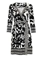 DIANE VON FURSTENBERG TALLLULAH WRAP DRESS NEW 4 FLOWER IKAT BLACK SNAKE WEAVE