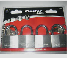 Master Lock 4 Pack NEW Padlocks SAME KEY FITS ALL SHEDS LOCKERS 9140Q 4 keys