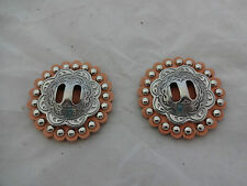 """Set Jeremiah Watt Slotted Conchos 1 1/2"""" Leather Spotted Rosettes Horse Tack"""