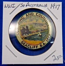 Original Vintage WWI WW1 Australia For King and Country Seacliff 1917 Pin Button