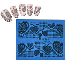 Valentines Nail Art Stickers Water Decals Wraps Love Hearts Stamping (stvvz40)