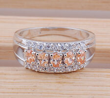 Fashion jewelry topaz gemstone 925 Silver ring Size:10 M290