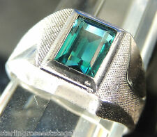 Vintage Men's Green stone Sterling Silver 0.925 Band pinky Ring size 5.75 or L