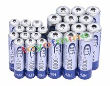 12 AA 3000mAh +12 AAA 1000mAh Ni-Mh BTY Rechargeable Battery Cell for MP3 RC Toy