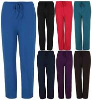 Womens Stretch Ladies Casual Palazzo Wide Leg Front Tie Pants Trousers Plus Size