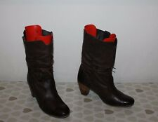 Brown Leather GABOR Comfort Pull On Slouch Mid Calf Mid Heel Boots Size 7 / 40