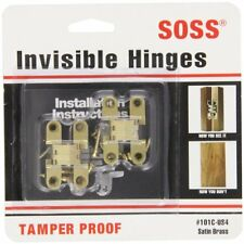 SOSS Mortise Mount Invisible Hinges with 4 Holes, Zinc, Satin Brass Finish, 1-11