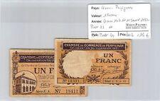 FRANCE - 2 BILLETS DE NÉCESSITÉ - PERPIGNAN - 1 FRANC - 31.5.1917 et 11.1.1922